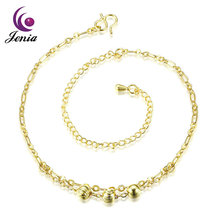 Jenia Popular Design Adjustable Fashion Women Plated Gold Anklet With Charm
