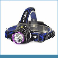 XML T6 1000 lumen zoom led headlamp +2*18650battery *charger+chargerfor hunting/caving/fishing