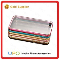 [UPO] Metal + Acrylic Clear Back Cover Cell Phone Hybrid Case Aluminum Bumper Case for iPhone se 5 6 6 Plus