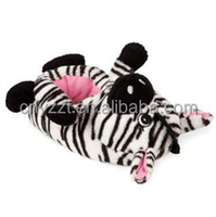 plush black and white Zebra slippers/audit winter home floor shoes/custom animal face shape plush slippers for kids