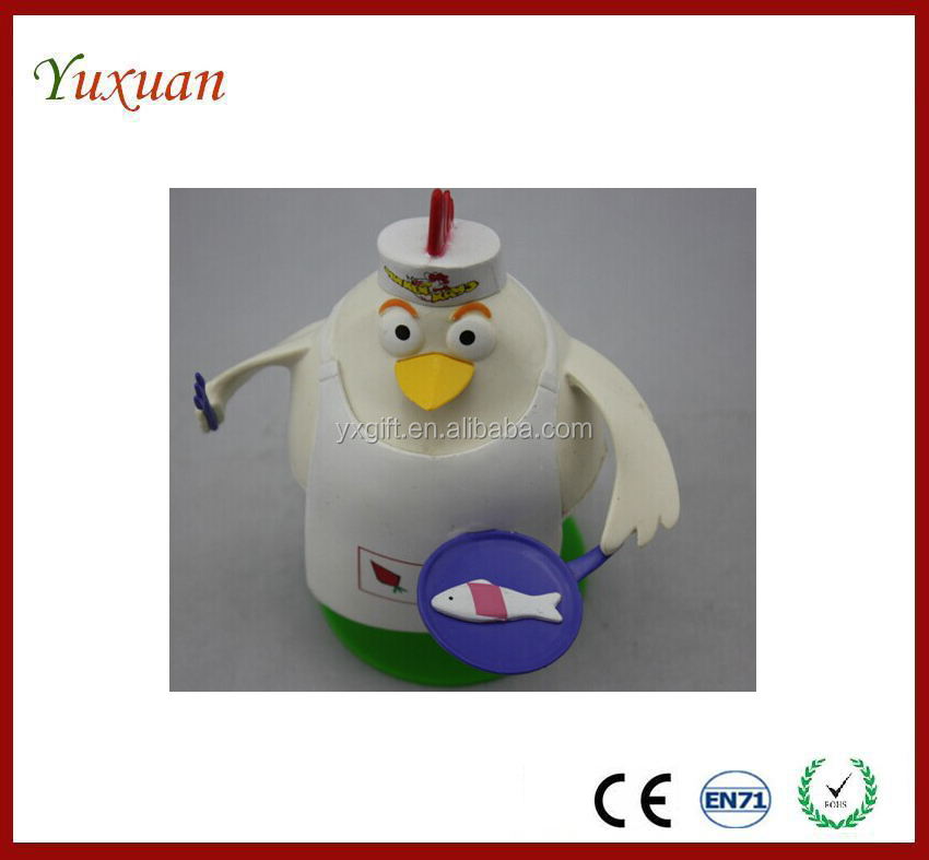 customized plastic 3d cartoon chicken chef toy figure