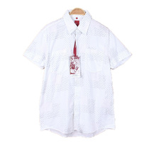 Surplus Garments Button Up White Two Pocket Mens Chinese Stand Collar Short Sleeve Shirt