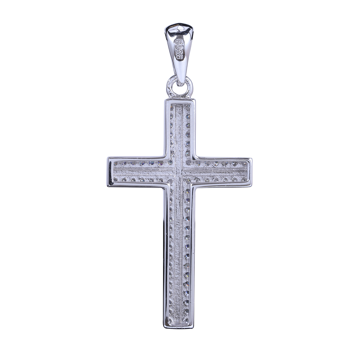 Customized Fashion Sterling Silver Small Diamond Cross Necklace