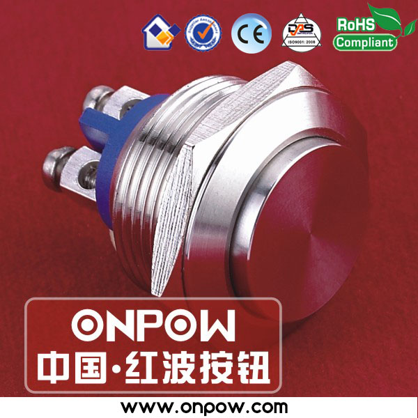 Specialized in push button since 1988 ONPOW 19mm CE, ROHS Anti-vandal short body metal push button switch