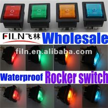 FILN KCD4 12V 24V 220V red 6 pin 3 pole waterproof lighted rocker switch