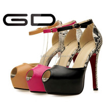 hot sell snake skin peep-toe party ladies summer high heel shoes
