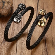 Fashion Punk Style316L Stainless Steel Wire Cable Twist Skull Cuff Bangle Stretch Bangle Bracelet for Men