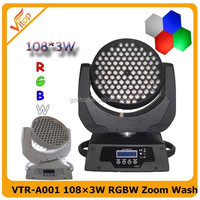 108 3w moving head, 4 color RGBW zoom wash 108x3w led moving head light