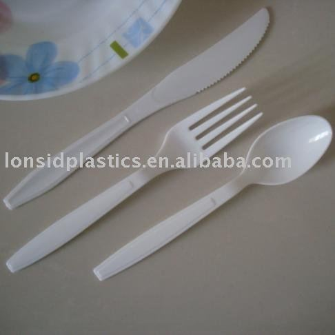 pp white heavy weight disposable plastic forks spoon and knife