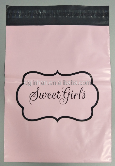Wholesale Pink/Black 10*13 Decorative Colored Custom Printed Poly Mailers