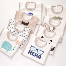 Kids Bib Baby Products Cotton Cartoon Infant Apron Cute Printing Square Shape Waterproof