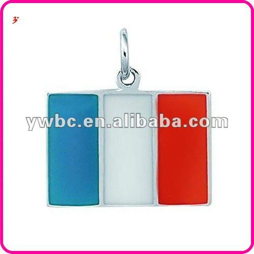 new design rhodium plated enamel italian flag charm(H102703)