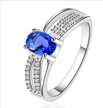 Bridesmaid gift Rhodium Zircon Fashion sapphire engagement ring , CZ artificial Diamond Jewelry
