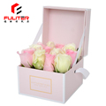 Baby pink bouquet paper packing box packaging flowers with ribbon handle