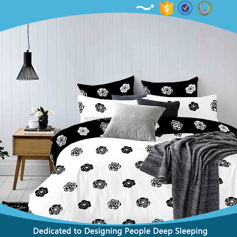 China Wholesale with Low MOQ! 120GSM Polyester Bedding Modern Fashion Black White Bed High Quality Microfiber Bed Sheets
