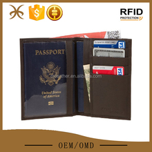 Mens RFID Blocking Passport Cover Holder Wallet Genuine Leather