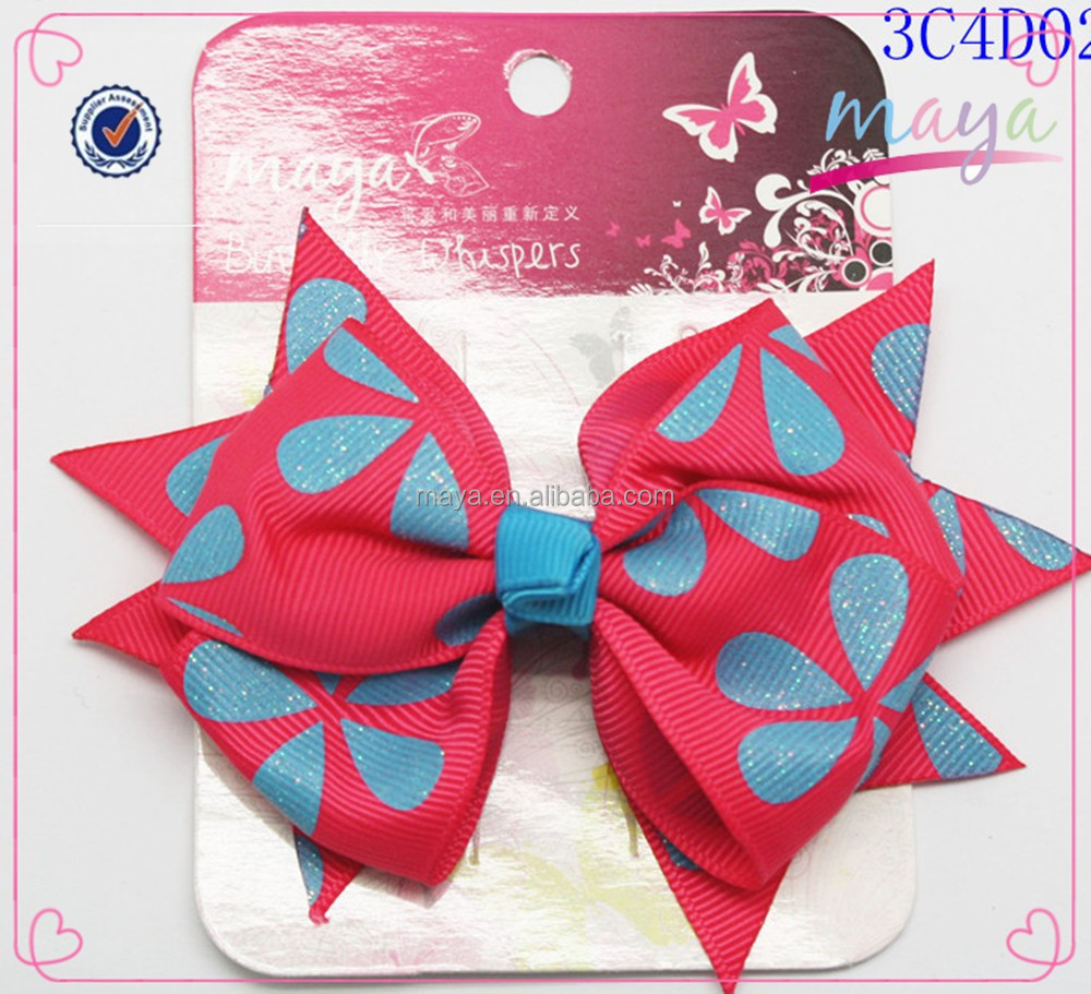 Fancy water-drop Red hair bow(approved by BV)
