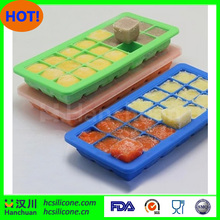 Silicone Baby Food Storage Ice Cube Tray with lid