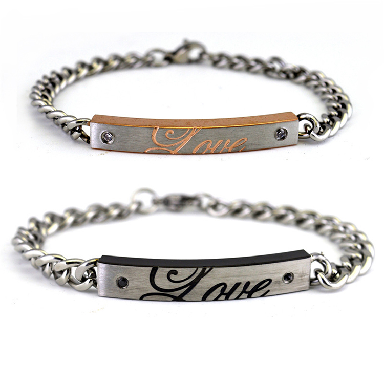 STB007 High-Grade Titanium Steel Fashion and South Korea a couple love bracelet titanium steel set foreign <strong>trade</strong> products