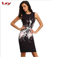 2017 Hot sale women black tight dress sleeveless print bodycon midi dress for ladies