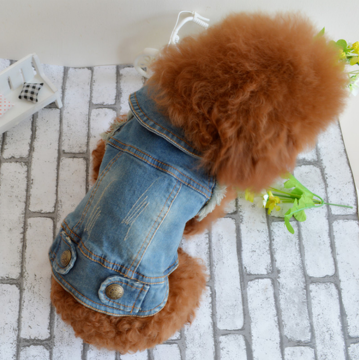 cool denim pet dog clothes sleeveless pet dog vest jean material dog jacket wholesale