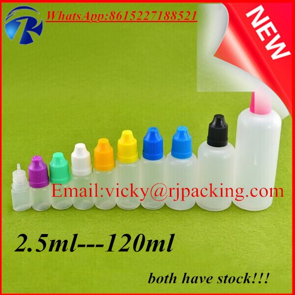 in stock!!! 5ml 10ml 15ml 20ml 30ml 50ml 60ml 100ml 120ml PE plastic e-liquid e-cig dropper bottle with child resistant cap