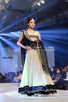 Black chiffon embroidered dupatta with off white sleeveless frock bridal dress BE-M61