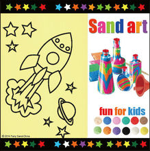 Sand Art Craft Kit for kids with assorted color sand and picutre designs