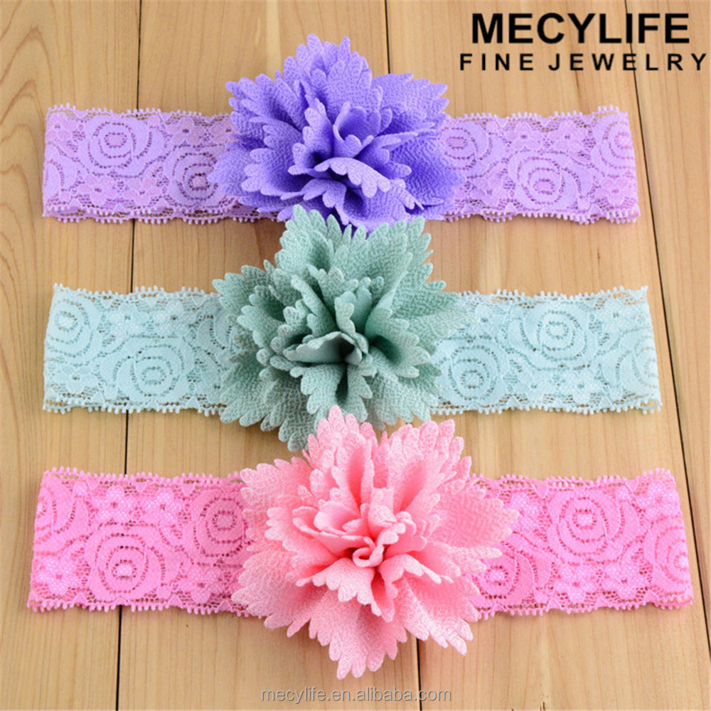 MECY LIFE cheap wholesale candy color lace flower baby headband 2016