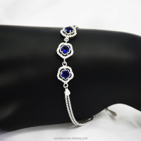 Newest White Gold Plated Royal Blue Fashion Rhinestone Flower Bracelet Jewelry