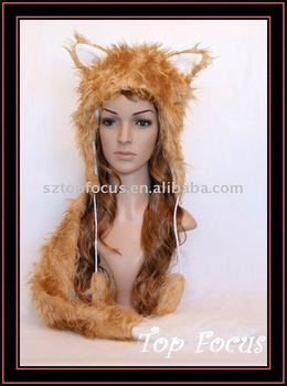 LOVELY WINTER PLUSH ANIMAL EARS HAT WITH TAIL