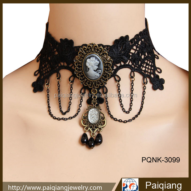 Vintage steampunk party holiday beauty women vampire victorian choker collar necklace