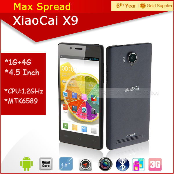 Hot sales!! 5 inch Screen MTK6582 quad core dual sim dual camear XIAOCAI X9 android smartphone