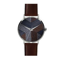 Swis Movt 316L stainless steel PVD coating vegetable tanned leather Wood Watch for man OEM