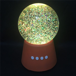 2018 New Design Novelty Promotional Gift LED Colorful Water Dancing Water Globe Bluetooth Speaker with Snowflake