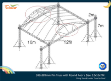 12x10x7m,Spigot or Pin Aluminum Truss with Circle Roof and Stages in height 1.5m