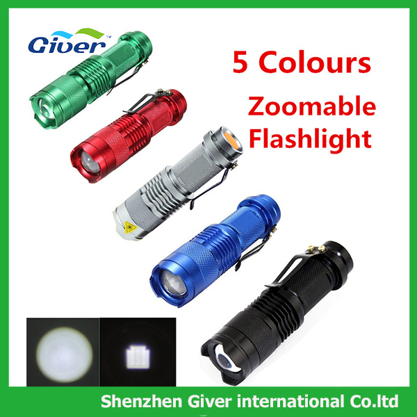 SK68 3Modes LED Flashlight 500lm Zoomable mini portable torch for Camping Security Tactical Use