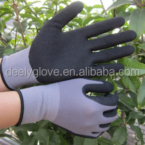 21g Cotton Interlock Liner Crinkle Latex Gloves contton knitted safety rubber grip palm glove