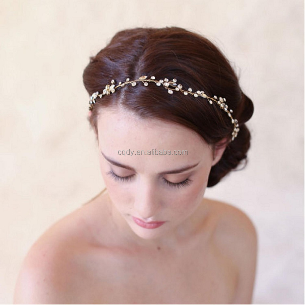 Wedding crystal headband/Fashion handmade crystal bridal ribbon hairband
