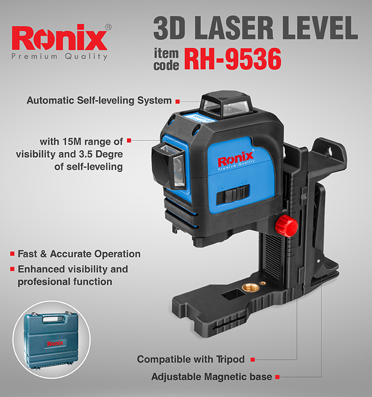 RONIX 3 Precise 360-Degree High Precision Automatic Leveling 3D Laser Level RH-9536