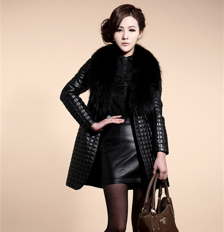 Fashion Women's Long Sleeve Synthetic Leather Fur Collar Coat Jacket Overcoat