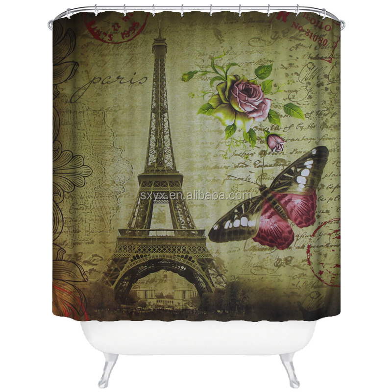 Eiffel Tower printed bathroom waterproof polyester fabric - butterfly and flower pale brown 72*78inch bath shower curtain liner