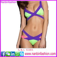 2016 summer sea candy color fashion sexy swimmear full sex bikini