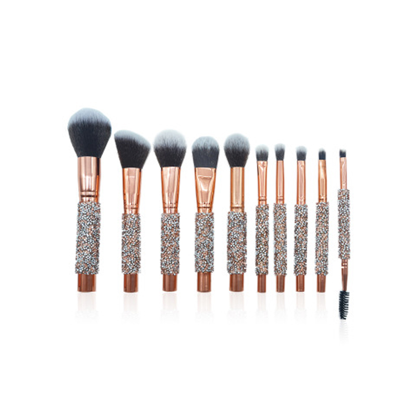 10pcs Diamond Makeup Brush Set Foundation Blending Power Eyeshadow Contour Concealer Blush Cosmetic <strong>Beauty</strong> Make Up Hot Sale