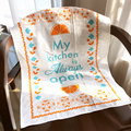 Cotton linen bleached kitchen towel dish towel screen printed