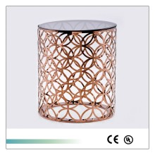 Goolee Golden Quatrefoil Designed Accent Metal Modern Side Table