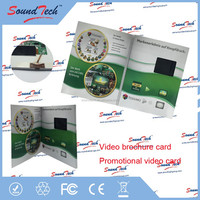 Super hot 7 inch LCD video brochure card in print, video cards, video greeting cards