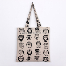 OWL stylish artwork cotton canvas picture of jute bag for girls