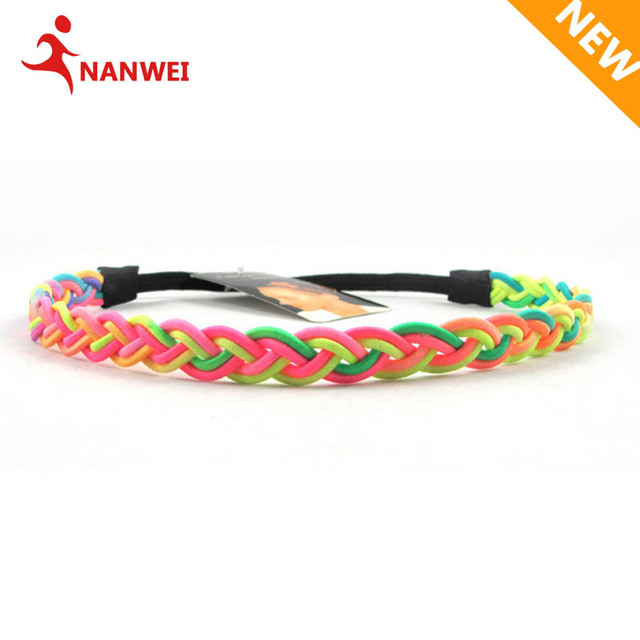 2017 Women Girl Mutiple Color Braided Headband Rainbow Elastic Hair Band