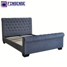 Flannel Fabric Wood Bed Frame Bedroom Suite Furniture